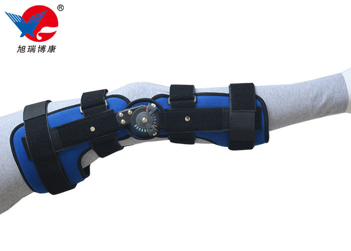 Blue Breathable Full Leg Knee Brace Extendable Hinge Bar Design Fit Taller Size Patients